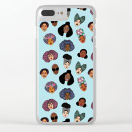 Black Hair Magic - Blue Clear iPhone Case