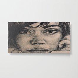 Watercolor portrait brunette girl. Girl passion. Metal Print