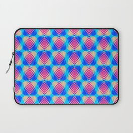 Pattern of blue hearts from the sky stripes on a yellow background in a bright intersection. Laptop Sleeve