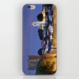 Braganca castle at dusk, Portugal iPhone Skin