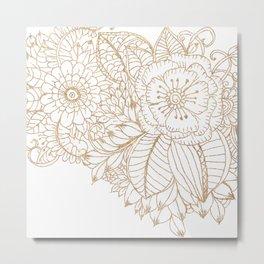 Elegant white faux gold glitter modern floral Metal Print