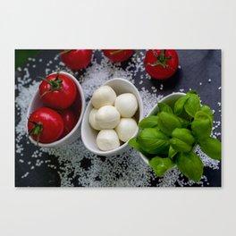Trio of tomatoes basil fresh mozzarella Canvas Print
