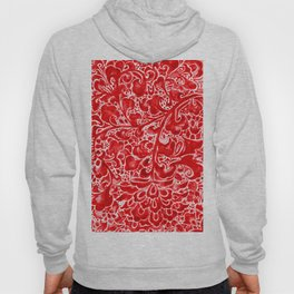 Watercolor Chinoiserie Block Floral Print in Ruby Red Porcelain Tiles Hoody