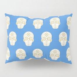 Día de Muertos • Mexican Sugar Skull – Blue & Gold Palette Pillow Sham
