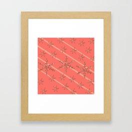 Living Coral Snowflakes Framed Art Print