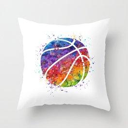 Basketball Ball Colorful Watercolor Sports Art Throw Pillow