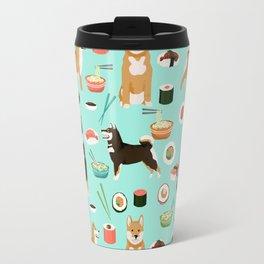 Shiba Inu noodles pho food cute dog art sushi dogs pet portrait pattern Travel Mug