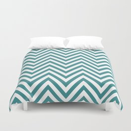 Zigzag Pattern, Chevron Pattern - White Blue Duvet Cover