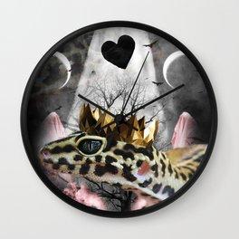 Goth Leopard Gecko With Crown Head Piece Wall Clock