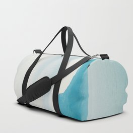 Modern Minimalist Landscape Ocean Pastel Blue Mountains With White Sail Boat Duffle Bag