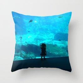 Child in the Aquarium Throw Pillow