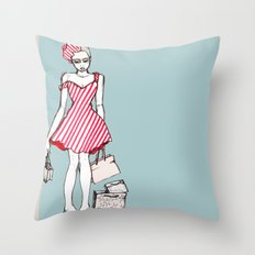Frazzled Shopper Throw Pillow