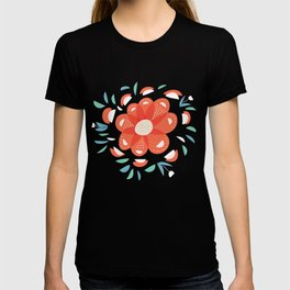 Whimsical Decorative Red Flower T-shirt
