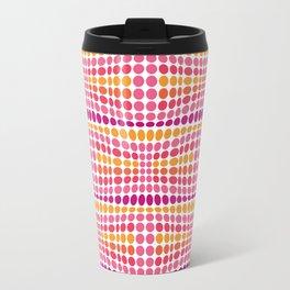 Dottywave - Pink Orange wave dots pattern Travel Mug