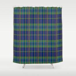 emerald and navy dobbie plaid Shower Curtain