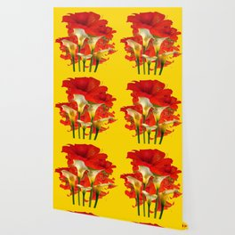 RED AMARYLLIS & CALLA LILY HOLIDAY FLORALS Wallpaper