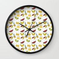 fruits Wall Clocks featuring Fruits by Amanda Araujo
