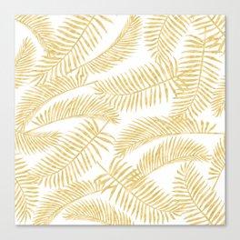 Palm Leaf Pattern Golden Canvas Print