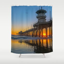 Soaring Seagull at Sunset Shower Curtain
