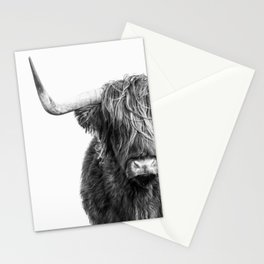 Highland Cow Portrait - Black and White Stationery Cards