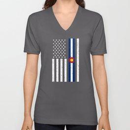 Colorado American Flag Gift US Denver Souvenir Unisex V-Neck