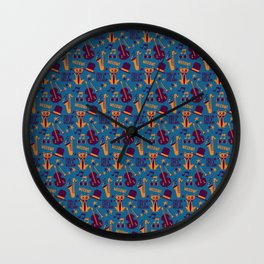 Cool Cat Pattern by Holly Shropshire Wall Clock
