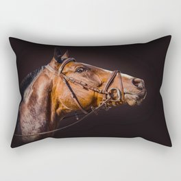 Horse portrait over a dark background. Closeup Horse Head. Rectangular Pillow