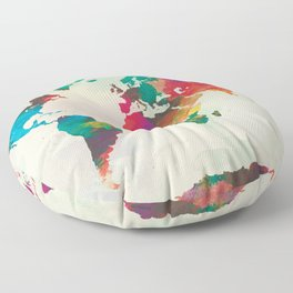 Watercolor World Map Floor Pillow
