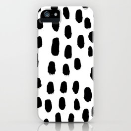 Spots black and white minimal dots pattern basic nursery home decor patterns iPhone Case