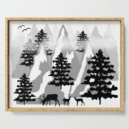 Woodland Rustic Deer Winter Mountain Forest Trees Serving Tray