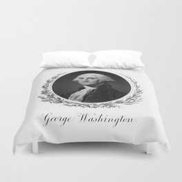 Engraving and anonymous portrait of George Washington Duvet Cover