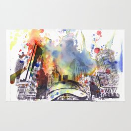 Chicago Bean Cityscape Watercolor Painting Rug