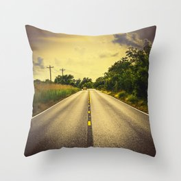 Louisiana Highway 82, an ample opportunity to see gators crossing the road Throw Pillow