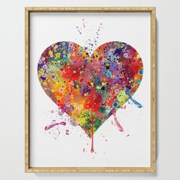Heart Art Love Gift Watercolor Art Valentine's Day Gift Wedding Gift Engagement Gift Serving Tray