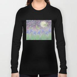 luna moths around the moon with starlit irises Long Sleeve T-shirt