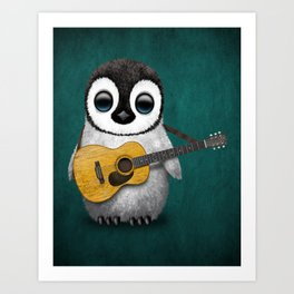 Musical Baby Penguin Playing Acoustic Guitar on Teal Blue Art Print