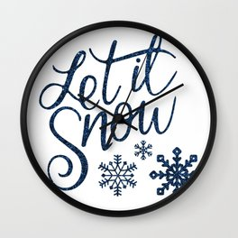 Let It Snow Blue Glitter Typography Winter Wall Clock
