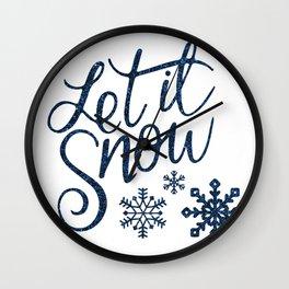 Let It Snow Blue Glitter Typography Winter Wall Clock