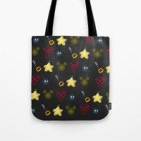 kingdom hearts Tote Bags featuring Kingdom Hearts Pattern by Caleb Cowan