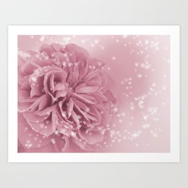 Light Pink Rose with hearts #1 #floral #art #society6 Art Print