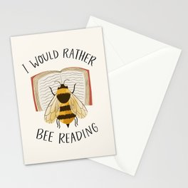 I Would Rather Bee Reading Stationery Cards