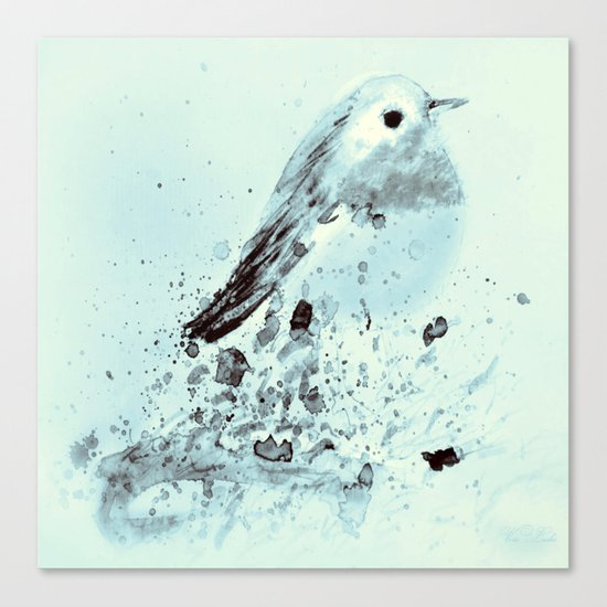 Robin in blue Canvas Print
