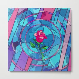 Rose Stained Glass Metal Print