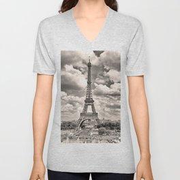 Eiffel Tower in sepia in Paris, France. Landmark in Europe Unisex V-Neck