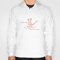 ramones Hoodies featuring Rockin' Rabbit by Adam Metzner