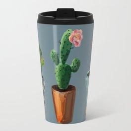 Three Cacti With Flowers On Blue Background Travel Mug