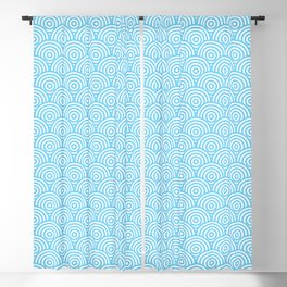 Light Blue Concentric Circle Pattern Blackout Curtain