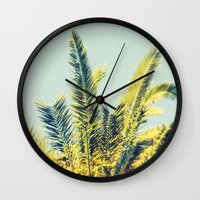 palm Wall Clocks featuring Palm by Esther Ní Dhonnacha