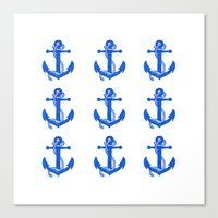 anchors Canvas Prints featuring Anchors by Chilligraphy