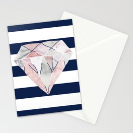 Navy Stripes & Marble Diamond Stationery Cards
